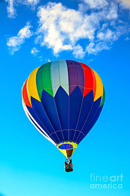 Blue Striped Hot Air Balloon Print by Robert Bales