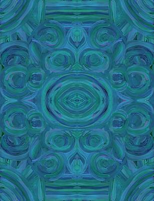 Star Burst Painting - Blue Swirl Vertical by Barbara St Jean
