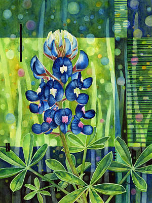 Texas Hill Country Painting - Blue Tapestry by Hailey E Herrera