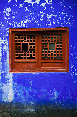 Ghost Town Photograph - Blue Temple Wall Detail, Mingshan by Panoramic Images