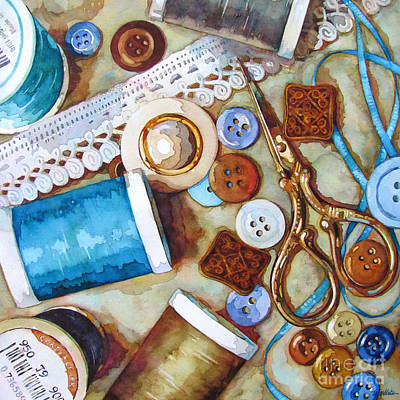 Thread Painting - Blue Thread by Wendy Westlake