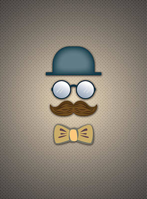 Glass Digital Art - Blue Top Hat Moustache Glasses And Bow Tie by Ym Chin