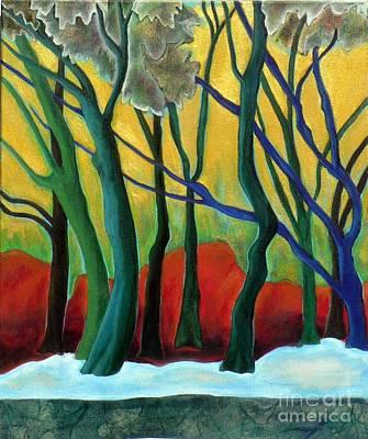 Blue Tree 1 Print by Elizabeth Fontaine-Barr