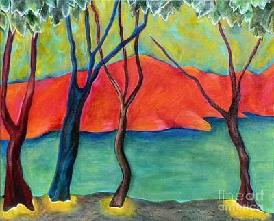 Blue Tree 2 Print by Elizabeth Fontaine-Barr