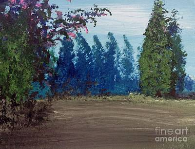 Bathroom Painting - Blue Trees by James Daugherty