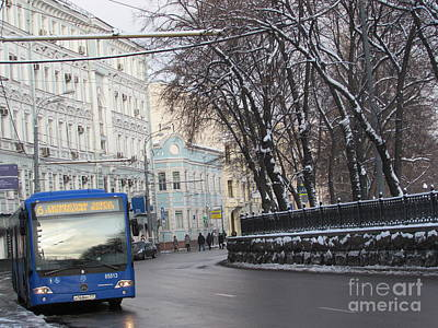 Moscow Skyline Photograph - Blue Trolleybus by Anna Yurasovsky