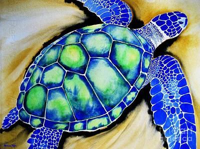 Hawaii Sea Turtle Painting - Blue Turtle by Frances Ku