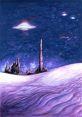 Extraterrestrial Drawing - Blue Ufo Night - Space Art by Art America Online Gallery