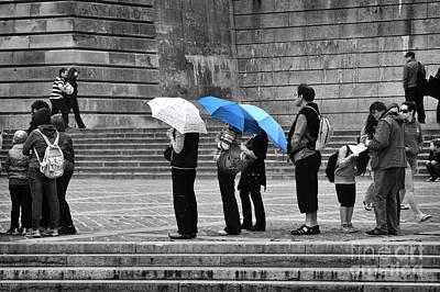 Blue Umbrellas Print by Louise Heusinkveld