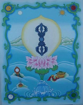 Tibetan Buddhism Painting - Blue Vajra by Andrea Nerozzi