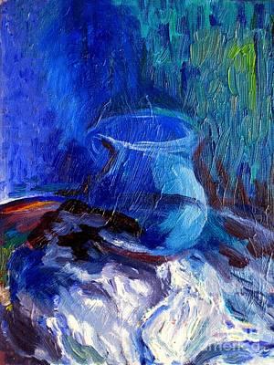 Blue Vase Print by Frederick  Luff