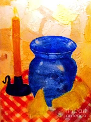 Checked Tablecloths Mixed Media - Blue Vase With Pears by Desiree Paquette