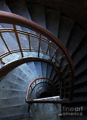 Blue Vintage Staircase Print by Jaroslaw Blaminsky