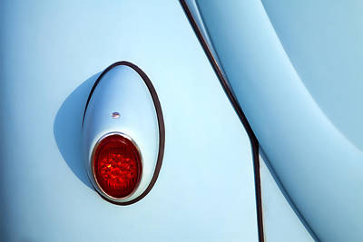 Blue Vw Bug Taillight Print by Carol Leigh