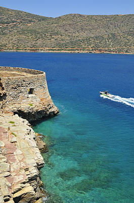 Turquois Water Photograph - Blue Water And Boat - Spinalonga Island Crete Greece by Matthias Hauser