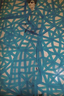 Banksy Drawing - Blue Web Pop Graffiti Model by Edward X