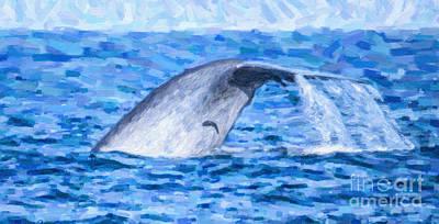 Blue Digital Art - Blue Whale With Remoras by Liz Leyden