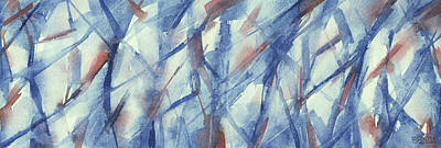 Abstract Artwork Painting - Blue White And Coral Abstract Panoramic Painting by Beverly Brown