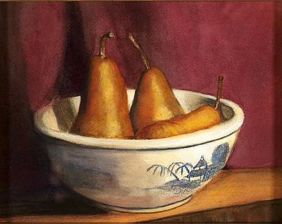 Blue Willow With Pears Print by Cindy Plutnicki