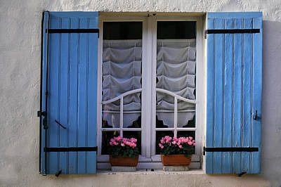 Blue Window Shutters Print by Georgia Fowler