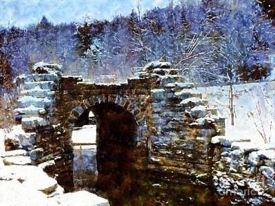 Blue Winter Stone Bridge Print by Janine Riley
