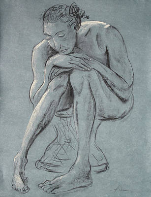 Contemplating Drawing - Blue Woman Of Melancholy by Asha Carolyn Young