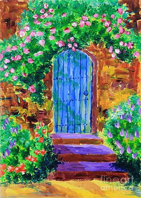 Blue Wooden Door To Secret Rose Garden Print by Beverly Claire Kaiya