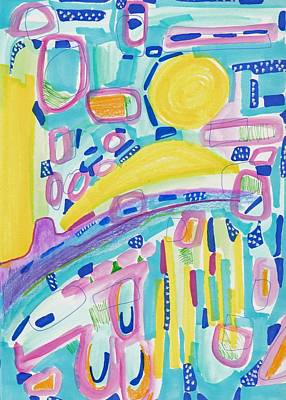 Abstract Collage Painting - Blue Yellow And Pink by Rosalina Bojadschijew