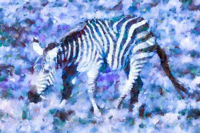 Zebra Digital Art - Blue Zebra by Priya Ghose