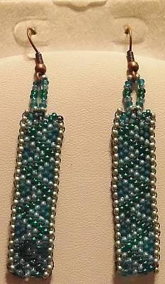 Earrings Jewelry - Blue Zigzag Handwoven Seed Bead Earrings by Kimberly Johnson