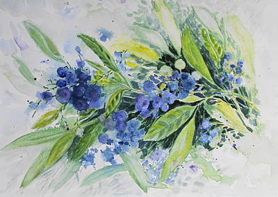 Blueberry Painting - Blueberries by Joanne Smoley