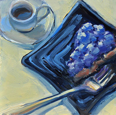 Painting - Blueberry Cake And Coffee by Mary Byrom