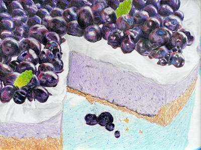 Blueberry Drawing - Blueberry Cheesecake by Christina Boyt