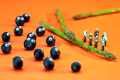 Asparagus Digital Art - Blueberry Protesting by Paul Ge