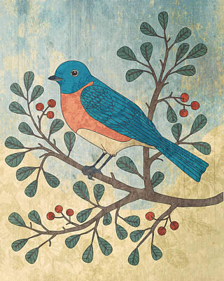 Bluebird Mixed Media - Bluebird And Berries by Karyn Lewis Bonfiglio