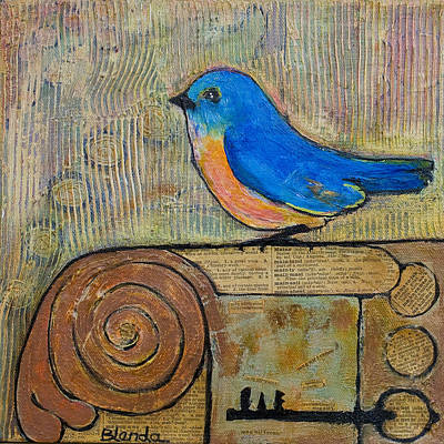 Bluebird Mixed Media - Bluebird Art - Knowledge Is Key by Blenda Studio