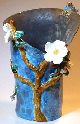 Customcrittersbydeb Sculpture - Bluebird Dogwood Vase Hand Built In Usa by Debbie Limoli