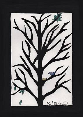 Lino Drawing - Bluebird In A Pear Tree by Barbara St Jean