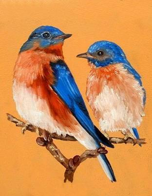 Bluebird Drawing - Bluebird Love by Melinda DeMent
