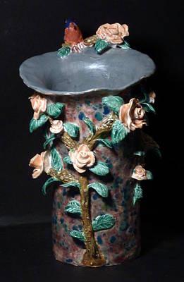 Sculpture - Bluebird Rose Vase Hand Built In The Us by Debbie Limoli
