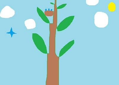 Bluebird Drawing - Bluebirds by Anita Dale Livaditis