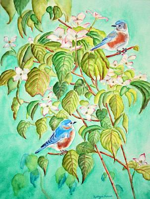 Bluebirds In Flowering Dogwood Tree Print by Kathryn Duncan