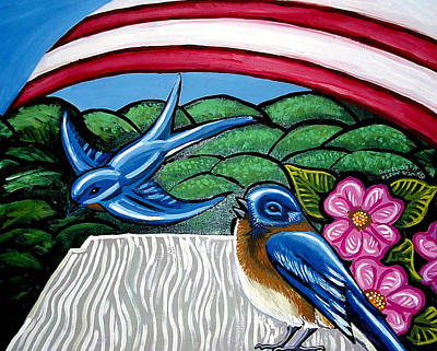 Black Bird.flying Art Painting - Bluebirds With Flag by Genevieve Esson