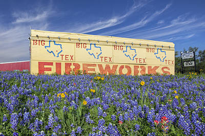 Blue Fireworks Photograph - Bluebonnets And Fireworks by Rob Greebon