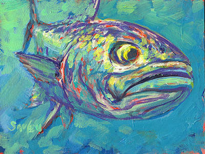 Fly Fisherman Painting - Bluefish Study by Savlen Art