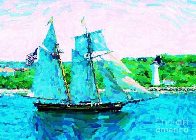 Bluenose Schooner In Halifax Print by John Malone