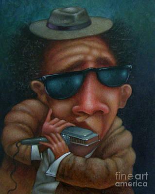 Preston Painting - Blues In Hand 2001 by Larry Preston
