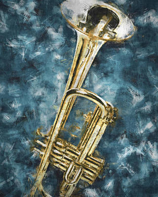 Jazz Digital Art - Blues Trumpet by Flo Karp