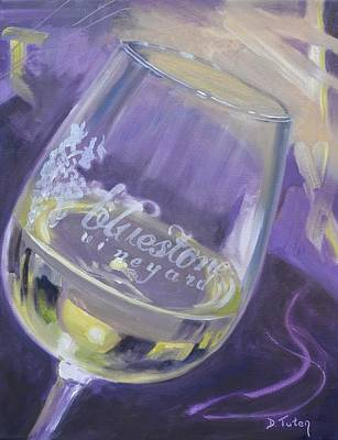 Wineglass Painting - Bluestone Vineyard Wineglass by Donna Tuten