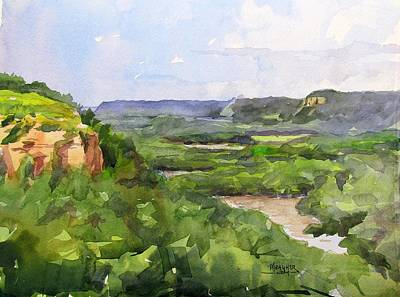 Mississippi River Painting - Bluffs Above The Mississippi Red Wing by Spencer Meagher